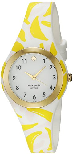 Kate Spade New York Donne Silicone stampa Banana e Goldtone Rumsey Orologio 30 mm Bianco
