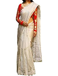 Kreckon Women's Chanderi Silk Saree With Blouse Piece(KRP-289_Off White)