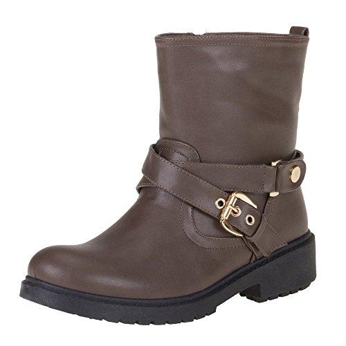 Damen Schuhe STIEFELETTEN SCHNALLEN DEKO ZIPPER BOOTS Farben: Schwarz Braun Größen: 36 37 38 39 40 41 Braun