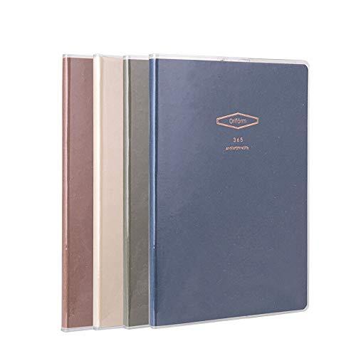 Miyabitors 4 Notebooks, Einfacher und Eleganter Student Notizblock, A5 Softcopy- Tagebuch Briefpapier, Gummihülse Wasserdicht Buch-Set, Doppelseitiges Schreiben -