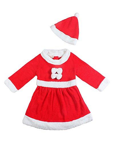 niceeshop(TM) Baby Mädchen Weihnachten Weihnachtsmann Kostüm Kleid und Hut (Mädchen Weihnachtsmann Kleid)