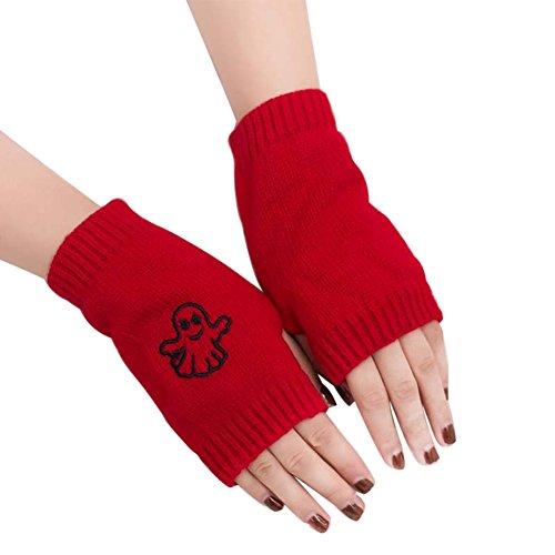 AchidistviQ - Guantes de Invierno para Mujer, diseño de Fantasma Rojo Rojo