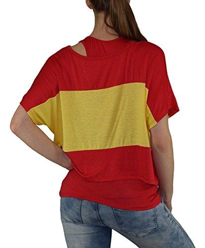 S&LU super angesagtes 2-teiliges Fan - Flag - Top Deutschland Italien Frankreich England Spanien USA Größe 34-40 (XS-L) Spanien-gelb