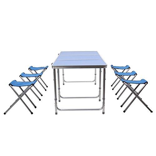 HOMFA Tavolo Pieghevole di Gardino da Campeggio, Tavolino Blu Picnic Familiari con 6 Sedie, Set Richiudibile a Valigetta per Spiaggia Terrazzo Viaggio, Altezza Regolabile 55-70cm (1.8m blu + 6 sedie)