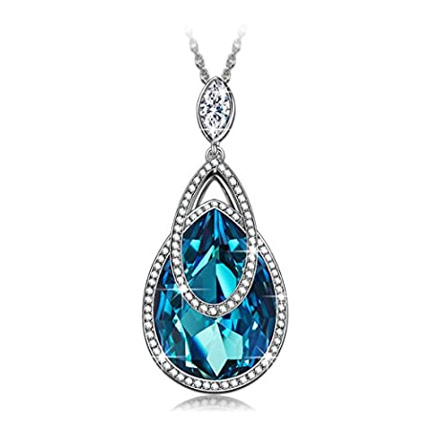 J.NINA Alpine lakes SWAROVSKI crystals Pendant Women Necklace Aquamarine Heart