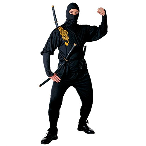 Ninja Kostüm Asia Ninjakostüm Herren L (52) Samurai Herrenkostüm Krieger Fasching Asiatischer Kämpfer Faschingskostüm Kampfsport Anzug Karnevalskostüm Sport Mottoparty Verkleidung Karneval Kostüme (Kostüme Ninja Herren)