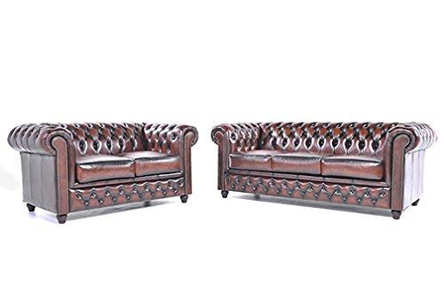 Original Chesterfield Sofas – 2 / 3 Sitzer – Vollständig Handgewaschenes Leder – Antik Braun
