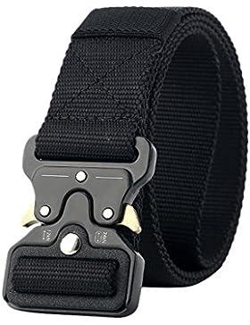 OuYou Cinturón Lona Hombre Militar Tactico Policia Cinturónes Ocasional Todo Fósforo Correa Hombres 120cm Largo