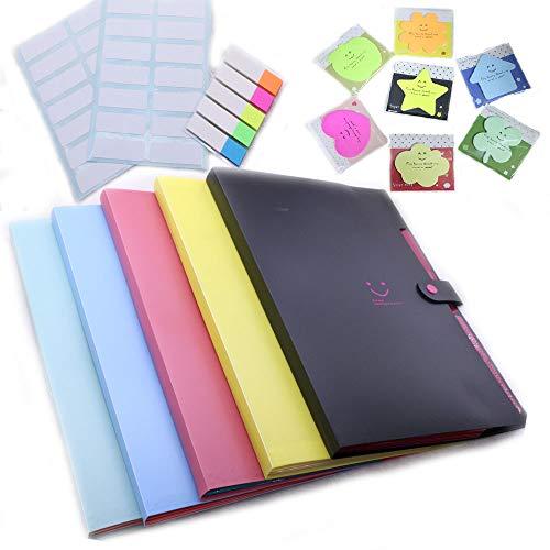 TSAOYA 5 Pcs erweitern Dateiordner mit 5 Taschen Kunststoff-Datei-Organizer A4 Brief Größe 5 verschiedene farbige dekorative für Familien und Büro (5 Pack)
