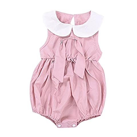 Saingace 1PC Bébé Fille Solide Sans manches Peter Pan Collier Arc Romper Combinaison (100(3-4ans),