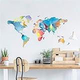 LIGESAY Bunte Weltkarte Kreativwand mit Dekorativer Wandfenster Dekoration Groß Männer Lavendel Leuchtturm Gäste Tiger BVB Planeten Halloween
