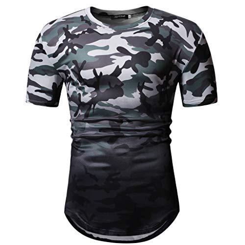 sunnymi  Herren Tarnen Tops, Männer Sommer Camouflage Kurzarm Oansatz Bluse T-Shirt (Machen Sie Eine Türkei Kostüm)