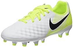 Nike Unisex Kids' Jr Magista Opus Ii Fg Footbal Shoes, White (Whiteblack-volt-pure Platinum), 4 Uk