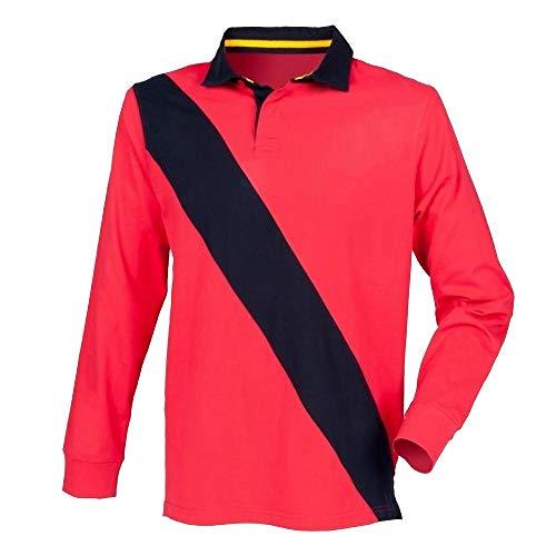 Front Row Herren Poloshirt / Sweatshirt mit diagonalem Streifen, Langarm (Medium) (Rot/Marineblau/Marineblau) -