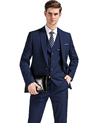 Sunshey Herren Anzug 3 teilig Sakko,Weste,Anzughose Slim Fit Anzugjacke in 4 Farben