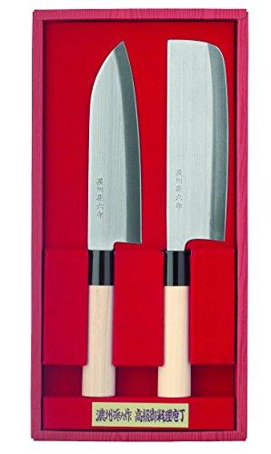 Herbertz Erwachsene 2-Teiliges Kochmesser, Stahl 420J2, Holzgriffe, Kunststoff-Zwingen Messer-Set, Mehrfarbig, One Size