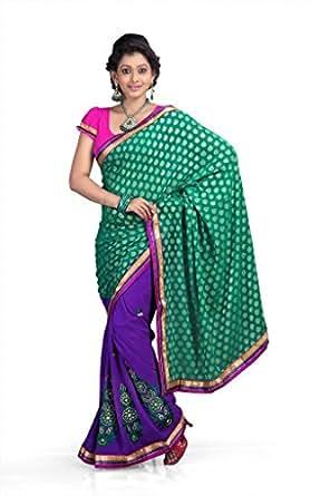 Chirag Sarees Chiffon Lace Saree (Multi-Coloured) -360-A