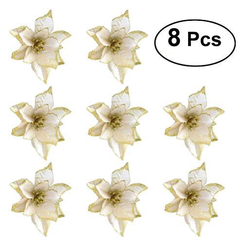 OULII Ornament der Kronen der Baum der Blumen Künstliche von Nikki Strange für die Weihnachtsdekoration Weihnachtsbaumschmuck 8pcs (Gold)
