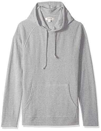 Goodthreads Herren Langärmeliger strukturierter Pullover mit Kapuze, Grau (heather grey), Medium -