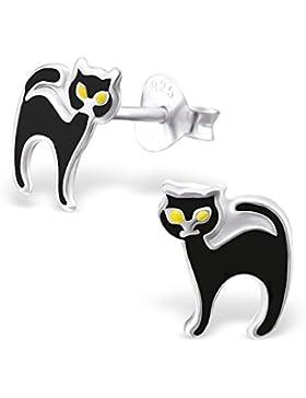 Bungsa© Katzen Ohrstecker für Kinder aus .925 ECHTSILBER (Ohrringe Echtschmuck Studs Ohrschmuck Jungen Mädchen)