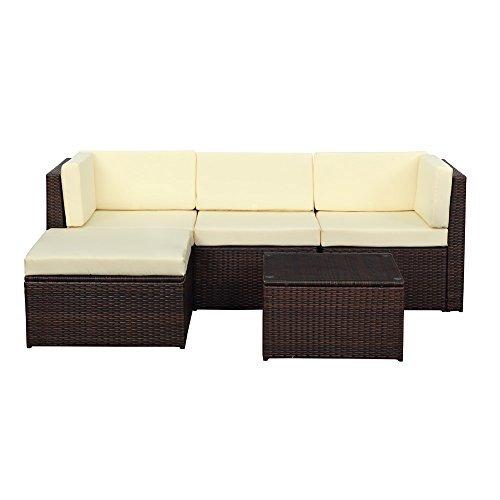 IKAYAA H0064 - Conjunto de Muebles de Jardín Salón Patio Terraza Aire Libre (2 Sofá Esquina+1 Medio Sofá+1 Tabla+1 Otomana),Color Beige