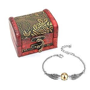 4 Stück Harry Potter Halskette Set Gold Snitch Armband mit Geschenkbox für Harry Potter Kollektion Fans oder Dekorationen