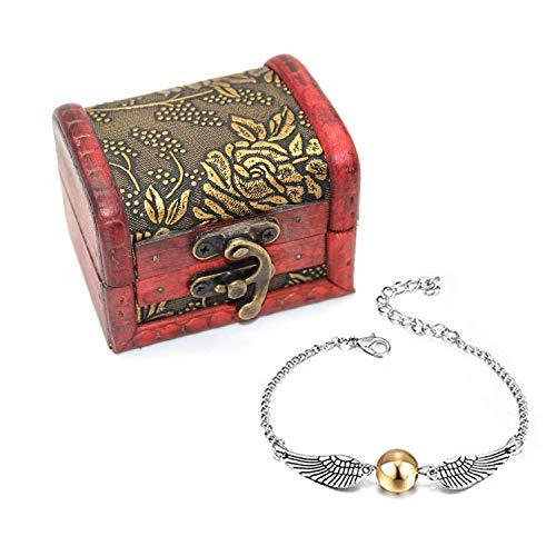 a50736f74b03 4 UNIDS Harry Potter Inspired Necklace Set Gold Snitch Bracelet con Caja de  Regalo para la