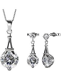Private Twinkle Parure Paris Love avec collier et boucles d oreille  pendantes en plaqué or blanc 18 carats et… e6b4e771c4ca