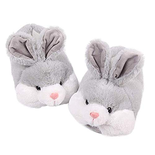 ED-Lumos Grey Rabbit Winter Warm Plush Shoes Ankle Flip Flop Slippers for Women Girls 2 Sizes