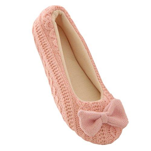Vovotrade Femmes Ladies Home sol souple Semelle intérieure chaussons en coton rembourré bowknot Femme Cachemire yoga chaud Chaussures (EU Size:37-38, Rose)