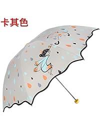 Paraguas Plegables Paraguas de plástico Negro Paraguas Anti-Ultravioleta Patrón de Dibujos Animados Paraguas de