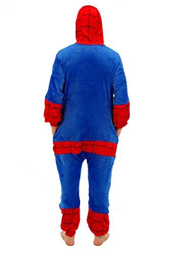 Imagen de adulto unisexo superhéroe spider man batman onesie fiesta disfraz de kigurumi con capucha pijama sudadera ropa para dormir regalo de navidad spider man, l height 170cm 180cm  alternativa