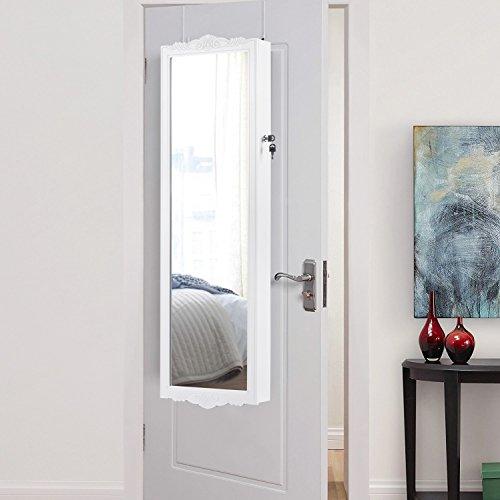 LANGRIA Hängend Schmuckschrank Spiegelschrank Türmontage/Wandmontage mit 2 Schubladen und 3 Höhenverstellbarkeit (36,7 x 9 x 121,5 cm, weiß) - 6