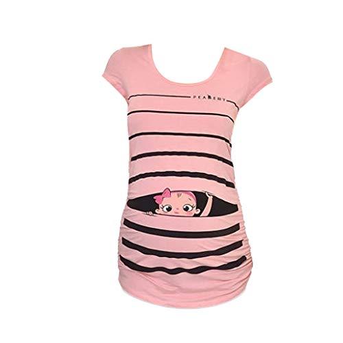 Nursing Top Damen Schwanger T-Shirt Sleeveless Schwangerschafts Umstandshirt Mutterschafts Rundkragen Tuniken Bluse Oberteile Schwangerschafts-Shirt Still-Tank Top (M, Rosa)