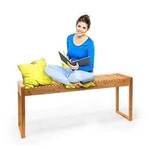 Relaxdays Sitzbank Bambus HxBxT: ca. 47 x 120 x 33 cm stabile und geräumige Gartenbank auch als Dielenbank mit Platz für…
