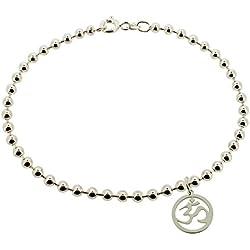925 macizo de plata de ley para mujer 25,4 cm pulgada (25,3 cm) 3 mm de ancho cuentas/LEG AVENUE de pelota de Yoga con Om Ohm Aum símbolo para pulsera en caja regalo