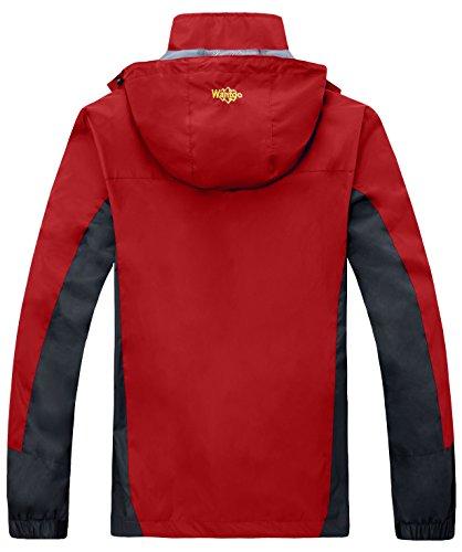 Wantdo Herren Oberbekleidung Wasserdichte Winddichte Jacke mit Kapuze Rot
