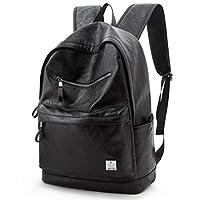 PU Leather Backpack School College Bookbag Laptop Computer Rucksack Travel Bag Black(Size: One Size)