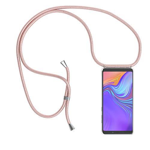 EAZY CASE Handykette kompatibel mit Samsung Galaxy A9 (2018) Handyhülle mit Umhängeband, Handykordel mit Schutzhülle, Silikonhülle, Hülle mit Band, Stylische Kette mit Hülle für Smartphone, Rosé-Gold