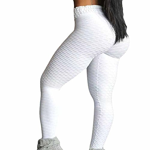 TianWlio Leggings Damen Frauen Running Stretch Hosen Hosen Hohe Taille Yoga Fitness Leggings Yoga Leggings Sport Leggings Yoga (Weiß 1, M) - Bootcut-jeans Metallic