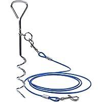 Juego de estaca de acero inoxidable con punta en espiral y correa para atar al perro en exteriores, correa de 3m, para perros pequeños y medianos