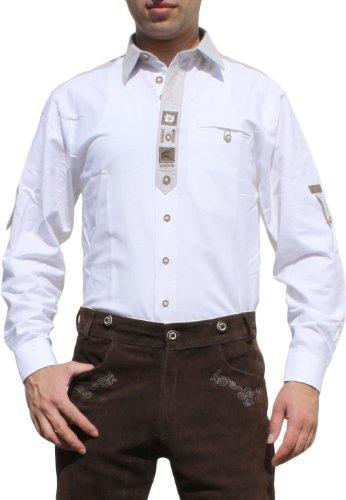 Trachtenhemd für Trachten Lederhosen mit Verzierung Trachtenmode wiesn weiß , Hemdgröße:S