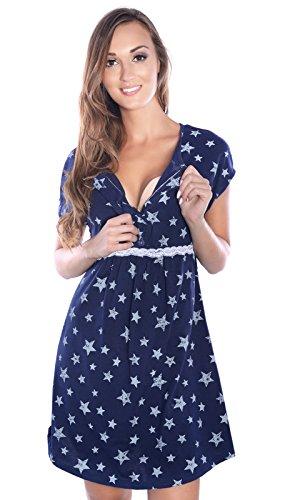 Mija - 2 in1 Hübsches Stillnachthemd & Umstandsnachthemd Nachthemd 4025 Dunkelblau / Sterne