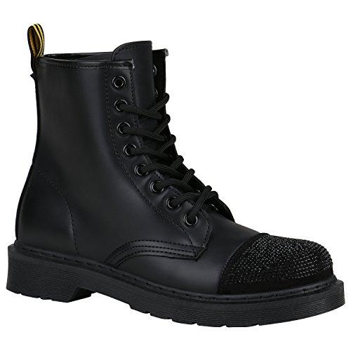 Coole Worker Boots Kinder Outdoor Stiefeletten Profil Sohle Schuhe 148809 Schwarz Strass 36 | Flandell® (Kinder Schuhe Strass)