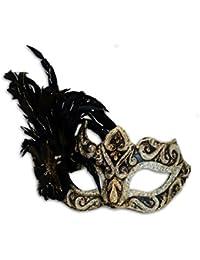 Maschera occhi veneziana Colombina Ombra Piume (nero/oro)