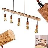 Pendelleuchte Gondo, Hängelampe aus Metall/Holz in Rost/Braun, 5-flammig, 5 x E27 max. 40 Watt, moderne Hängeleuchte geeignet für LED Leuchtmittel