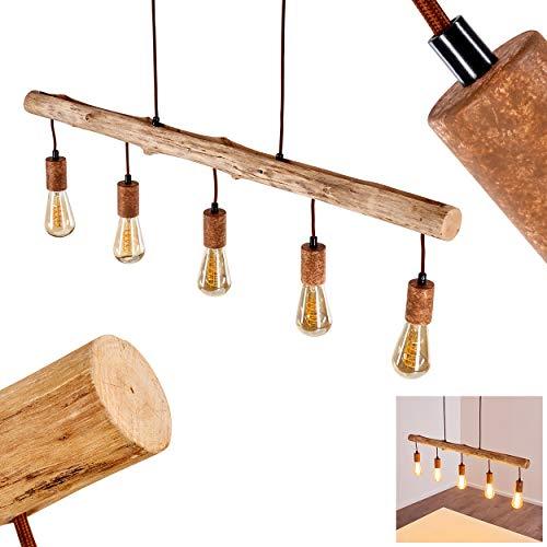 Pendelleuchte Gondo aus Holz/Metall Rostfarben, 5-flammige Hängelampe für Wohnzimmer, Esszimmer, Schlafzimmer