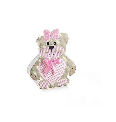 Irpot - 50 x scatolina orsetta portaconfetti rosa 14959