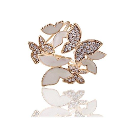 S&E El¨¦gant trois anneaux en strass papillons Echarpes clip de femme Diapositives Echarpes Anneau Mode boucle en m¨¦tal d'or