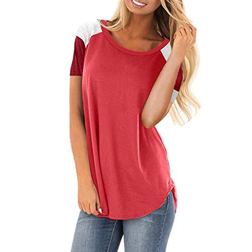 iYmitz Damen Sommer T-Shirt Kurzarm Beiläufig Farbe Short Block Lose leichte Rundausschnitt Tunika Bluse Oberteil Tops Shirts(Rot,EU-40/CN-XL)